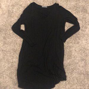 Black Long sleeve dress detailed neckline-size L